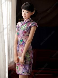 Women's Mulberry silk Knee-length lotus Luxurious Cheongsam Dress - USD $ 393.00
