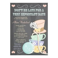 Mad Hatter Bridal Shower Invitations                                                                                                                                                                                 More
