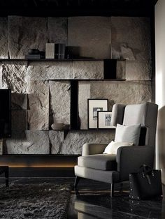 Astonishing Living Room With Stone Wall Design Ideas - Fresh Home Ideas Stone Interior, Interior Exterior, Interior Walls, Interior Architecture, Modern Interior, Stone Wall Design, Design Apartment, Wall Cladding, My New Room