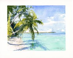 """Palms Over Water, Key West, FL"" by LPAPA Signature Artist Thomas Kitts (8 x 10 watercolor)"