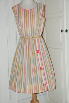 50s Dress, Full Skirt,  Awning Stripe, Cotton, Belted, Pink, Gold, Green, Size S/M