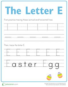 First, kids trace lines on this prekindergarten writing worksheet to strengthen the fine motor skills needed to form the letter E. Then they trace the letter E!