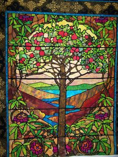 Tree of Life Stained Glass Quilt Stained Glass Quilt, Faux Stained Glass, Stained Glass Patterns, Stained Glass Windows, Mosaic Glass, Glass Art, Stain Glass Cross, Church Banners, Landscape Quilts