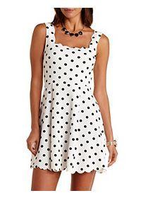 Scalloped Polka Dot Skater Dress