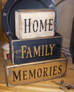 HOME  FAMILY  MEMORIES PRIMITIVE BLOCK SIGN SIGNS
