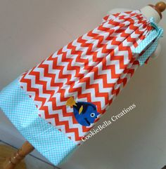 Disney Dory from Finding Nemo Orange Chevron and aqua polka dot pillowcase dress. Perfect birthday party dress for baby toddler and little girls.