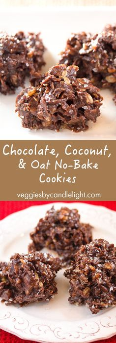 Chocolate, Coconut and Oat No-Bake Cookies - With chocolate, coconut, oats, and almond butter . this is a healthy and delicious take on everyone's favorite childhood cookie Cacao Recipes, Vegan Dessert Recipes, Healthy Eating Recipes, Healthy Sweets, Gluten Free Desserts, Vegan Snacks, Delicious Desserts, Healthy Snacks, Snack Recipes