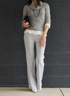 lace and grey - great inspiration piece to stet with... But add some colorful accessories... Pale pink, deep purple, yellow, royal blue...