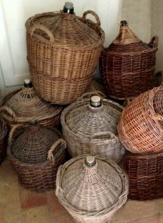Vintage Wine Variety of French wine jugs xo--FleaingFrance - French Baskets, Vintage Baskets, Rattan, Vintage Wine, Vintage Glassware, Vintage Stuff, French Wine, In Vino Veritas, Bottles And Jars