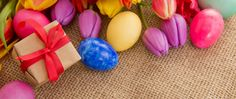 spring tulips with colorful easter eggs and gift box