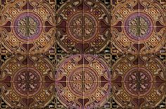 MANDALA TILES CHECK ROCKS STONE brown agathe fabric by paysmage on Spoonflower - custom fabric