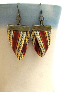 Kimono chic fiber earring in brown and gold Damask by Gilgulim, $15.00