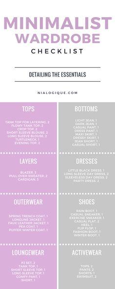 Minimalist Wardrobe Checklist - Nialogique.com