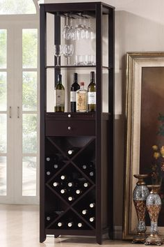 Austin Wood Brown Modern Wine Tower