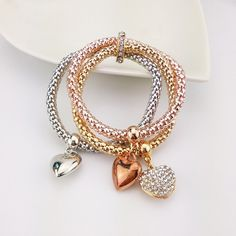 Fashion Alloy Bracelet three colors suit elastic corn Chain Bracelet  Inlay Love Shape Pendant Bracelet for Women Gift