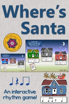 Where's Santa? Keep your elementary music students engaged with this interactive rhythm game (eighth notes) around Christmas and the holidays! Excellent music education resource!