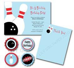 Bowling birthday party set, printable.