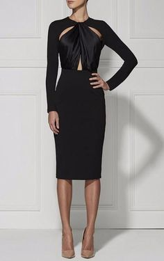 2015 New Arrival Autumn &Winter Black Hollow Out Long Sleeve Knee Length bodycon HL Bandage Dress casual dresses vestidos Look Fashion, Timeless Fashion, Womens Fashion, Fashion Design, 80s Fashion, Dress Skirt, Dress Up, Bodycon Dress, Bandage Dresses
