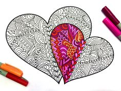 Two Hearts  PDF Zentangle Coloring Page