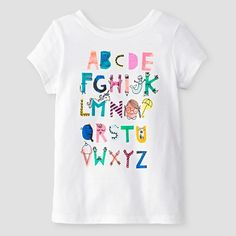 Baby Girls' Alphabet Short Sleeve Graphic T-Shirt White - Cat and Jack™ : Target