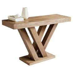 """wood console table   Product: Console tableConstruction Material: Ash wood and wood veneersColor: DriftwoodFeatures: Branch-inspired baseDimensions: 29.5"""" H x 47.25"""" W x 15.75"""" D"""