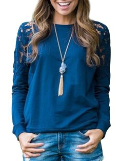 Lovely Crew Neck Lace Patchwork Long-sleeve-t-shirts Long sleeve T-shirts from fashionmia.com