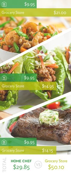 New channel study finds meal kit Home Chef cheaper than local grocery stores. Healthy Fats, Healthy Snacks, Healthy Eating, Healthy Recipes, Freezer Cooking, Cooking Recipes, Good Food, Yummy Food, Home Chef