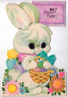 Vintage Greeting Card Easter Bunny
