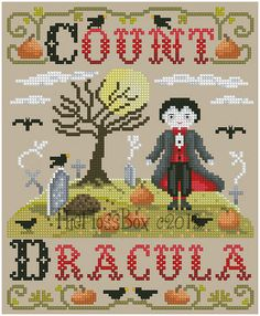 Count Dracula Cross Stitch by Theflossbox on Etsy, $5.75