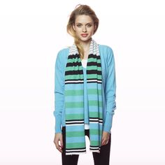 Statement Stripe Scarf Green / OS Striped Scarves, Winter Collection, Cashmere, Green, Jackets, Shopping, Fashion, Down Jackets, Moda
