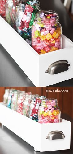 Build a simple box to hold mason jars and create a darling candy bar for any occasion! Do it Yourself Project Tutorial to build your own CANDY BAR! diy candy bar DIY Candy Bar Using Mason Jars Mason Jar Candy, Mason Jar Crafts, Candy Table, Candy Buffet, Bar A Bonbon, Do It Yourself Wedding, Favorite Candy, Do It Yourself Projects, Diy Projects