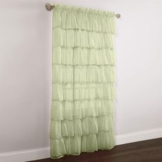 Gypsy Ruffled Voile Rod-Pocket Panel from BryLane Home. These are going to make the home office scream feminine!