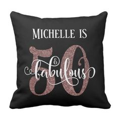 Rose Gold Glitter 50 & Fabulous Birthday on Black Throw Pillow