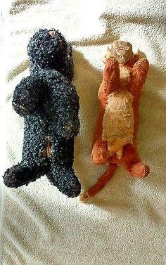2 Early Vintage Sawdust Plush Toys Bull Black Dog