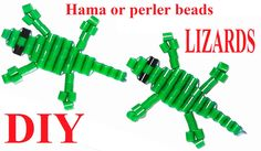 How to make Lizards with hama o perler beads and string. tutorial diy easy for kids