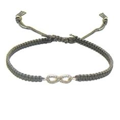 Tai Smokey Brown Cord Bracelet With Antique Gold Infinity Link