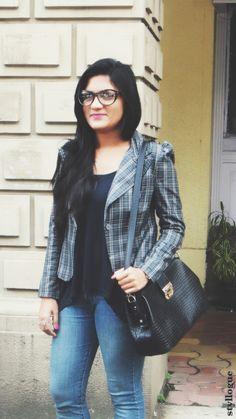 Plaided - plaid jacket , zara jeans ,charlotte russe tank top , cat eyes frames ,#styllogue