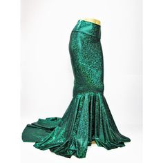 Mermaid Skirt Fish Tail Costume Fairy Circle Skirt Green Shattered... (220 BRL) ❤ liked on Polyvore featuring skirts, silver, women's clothing, long fishtail skirt, long circle skirt, mermaid tail skirt, long white maxi skirt and white maxi skirt