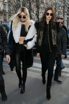 Pin for Later: Don't Miss a Single Supermodel Outfit on the Streets at PFW Day 3 Kendall Jenner wearing Sandro boots and Gigi Hadid wearing an Etro vest and Sandro boots.