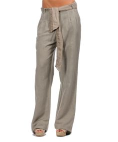 Another great find on #zulily! Gray Sash-Cinched Linen-Blend Pants by LAKLOOK #zulilyfinds