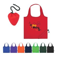 "For a bag that folds up for easy storage, look no further than this foldaway tote! Made of 210-denier polyester, this compact products folds into a self-contained pouch (4 1/2""W x 5""H) with a drawstring closure. It measures 16"" x 14 1/2"" when opened at features 18"" handles. Perfect for trips to the grocery store or the beach, it is available in several colors and can be customized with an imprint of your company name and logo for increase..."