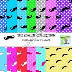 The Stache Collection-Digital Papers and Clipart product from Surfin-Clipart on TeachersNotebook.com