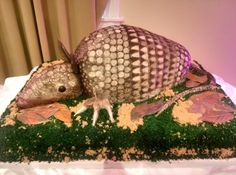 Armadillo groom's cake created by the creative and pastry team at Mediterranean Villa! Only in Texas.     Check out more of our cakes at www.mediterraneanvilla.net