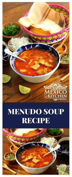 "How to make Menudo Soup Recipe │This soup is usually sold on weekends in small mom-and-pop kitchens called ""Fondas"", or in restaurants that specialize in Typical Mexican antojitos. Gourmet Recipes, Mexican Food Recipes, Soup Recipes, Cooking Recipes, Healthy Recipes, Delicious Recipes, Menudo Recipe Authentic, Mexican Menudo Recipe, Menudo Soup"