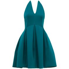Rental Halston Heritage Teal Dance Dress ($80) ❤ liked on Polyvore featuring dresses, blue, sleeveless halter dress, halter top, halston heritage dress, sleeveless halter top and teal blue dress