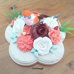 """Fleurs en porcelaine froide roses et oiseau """"mon bel oranger"""" - création créaconcept http://www.alittlemarket.com/boutique/creaconcept-899765.html"""
