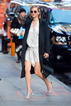 Love this striped shirt-dress Jennifer Lawrence wore in NYC