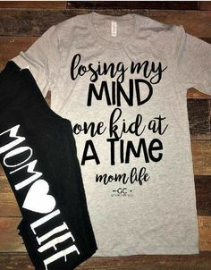Losing My Mind One Kid at a Time Mom life Tee Vinyl Shirts, Mom Shirts, Cute Shirts, Funny Shirts, T Shirts For Women, Mom Outfits, Cute Outfits, Summer Outfits, Fall Outfits