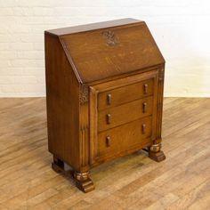 Art Deco Carved Oak Bureau http://witchantiques.com/antique-art-deco-carved-oak-bureau.html