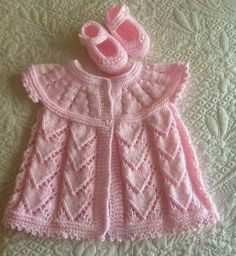 Hand-knitted Jacket & Bootees ~ She'll be Pretty in Pink ....